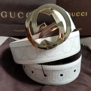 💥Authentic Gucci Belt White Monogram Print Gold